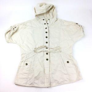 Free People Button Short Sleeve Hoodie Jacket